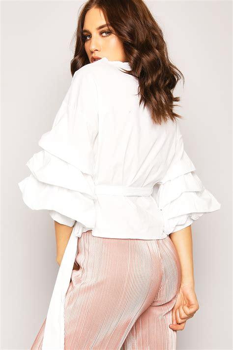 White Wrap Blouse Sleeve Uk by White Puff Sleeve Wrap Around Blouse Lasula