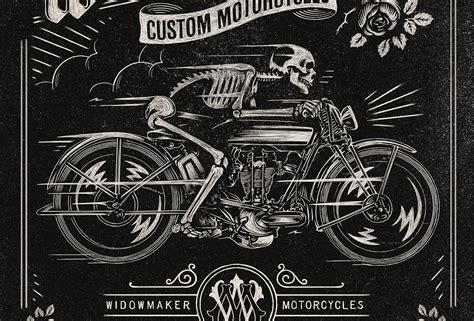 20 cool motorcycle culture hand lettering illustrations