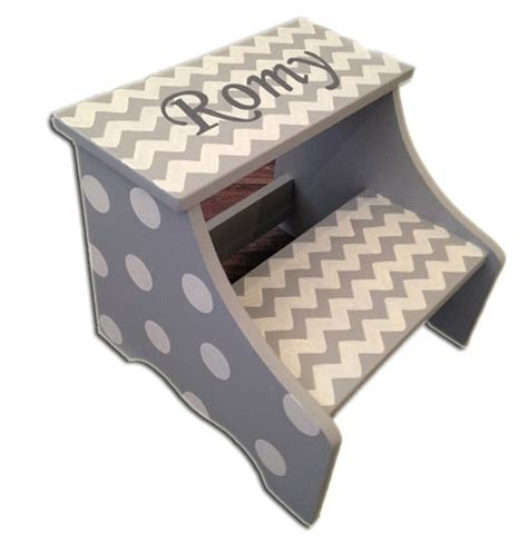 Personalized Stools by Personalized Stool Grey Chevron Dots You Name It Baby
