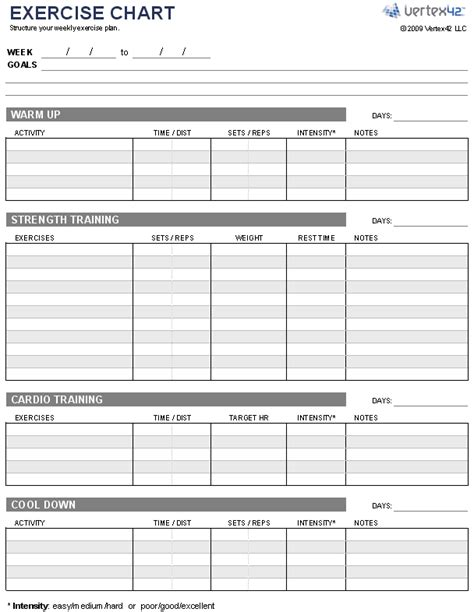 printable workout planner free exercise chart or ms excel use this template to