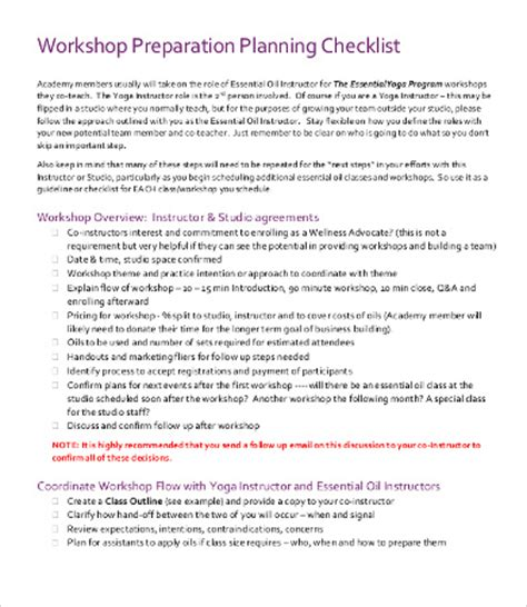 workshop planning checklist templates 7 free word pdf