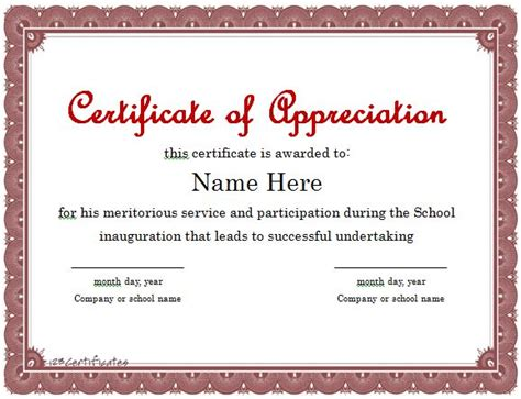 recognition certificates templates 30 free certificate of appreciation templates and letters