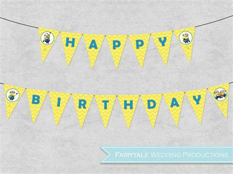 Bunting Flag Happy Anniversary Banner Happy Annive By Bosballoon despicable me minions happy birthday banner bunting pennant flags yellow chevron diy