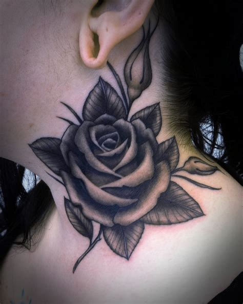 grey rose tattoos grey on side neck