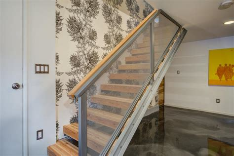 Transitional Basement Features Custom Wall Storage Unit Building Basement Stairs