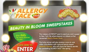 Zyrtec Sweepstakes - zyrtec allergy face beauty in bloom sweepstakes win a trip to nyc more