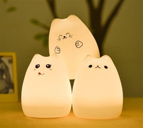 usb cat light rechargeable silicone led cat light changes colors
