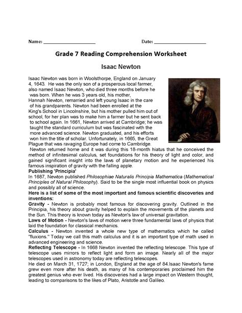 7th grade biography reading list pictures isaac newton worksheet leafsea