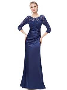 Beautiful Blue And Purple Wedding #5: Elegant-3-4-Sleeve-Lace-Womens-Long-Navy-Blue-Evening-Dress.jpg