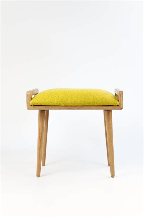 yellow ottoman bench stool seat stool ottoman bench made of solid oak