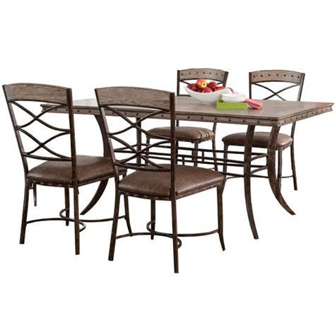 bedford hill 7pc rectangle metal patio dining set dining furniture emmons 5 or 7 rectangle dining table sets with chairs washed gray