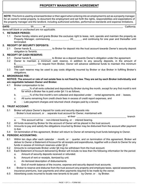 property management agreements property management agreement rpi form 590