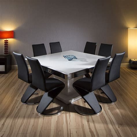 White Square Dining Table For 8 Large Square Dining Set White Gloss Table 8 High Back Black Chairs 939 Ebay