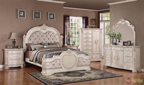 unity antique traditional distressed antique white upholstered bedroom set with tops rpcmo01