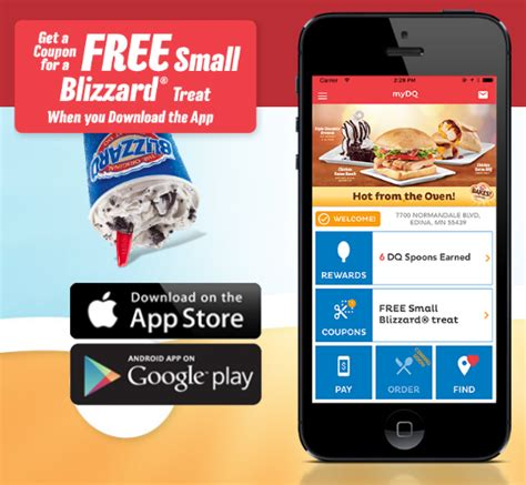 2016 download mobile app dairy queen free small blizzard treat with mobile app