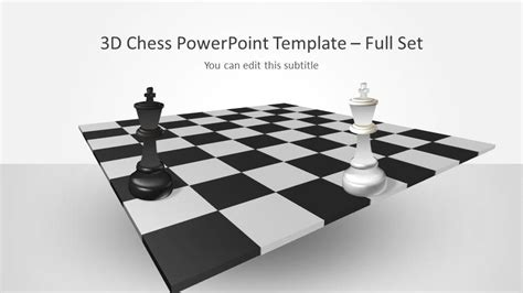 3d chess powerpoint template with full set slidemodel