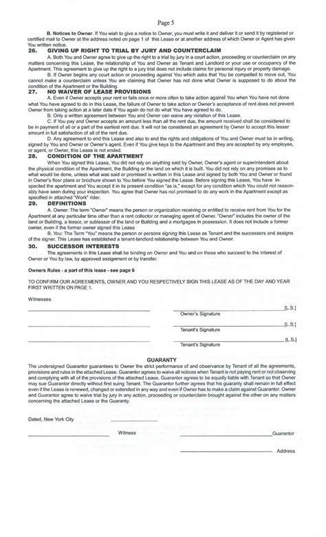 standard and condominium apartment leases regarding real