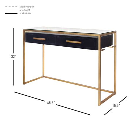 console firenze firenze floating console table 2 drawers gold frame