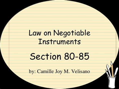 section 1 negotiable instruments law law on negotiable instruments section 80 85