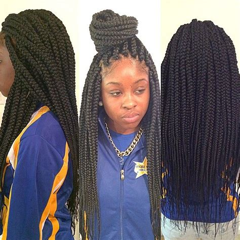 Box Plaits Hairstyles by Medium Size Box Braids Styled Braids