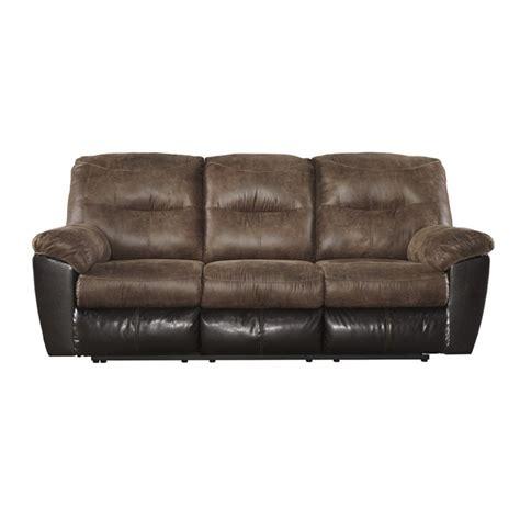 ashley leather reclining sofa ashley follett reclining faux leather sofa in coffee 6520288