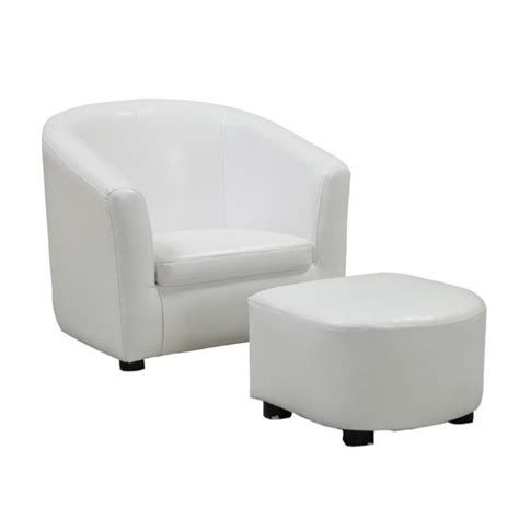 childrens faux leather armchair rosebery kids faux leather chair and ottoman set in white