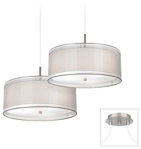 Brushed Nickel Drum Chandelier Brushed Nickel White Drum Multi Light Pendant Contemporary Chandeliers By