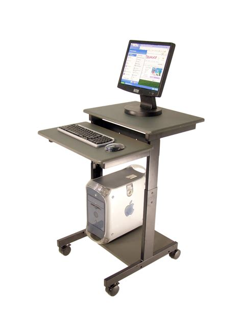 Gray Portable Standing Computer Desk With Shelf And Drawer Mobile Laptop Computer Desk