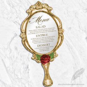 beauty and the beast wedding menus die cut hand mirror