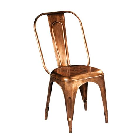 Copper Bistro Chair Baxter Bistro Dining Chair In Aged Copper Solid Metal Simply Furniture