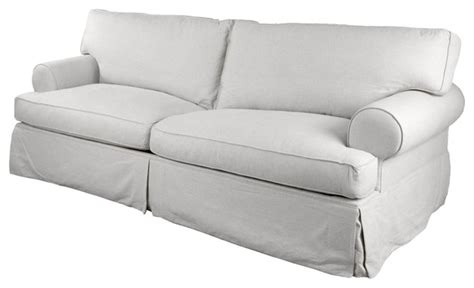 Langley Tailored Slipcover 89 Quot Sofa White Beach Style
