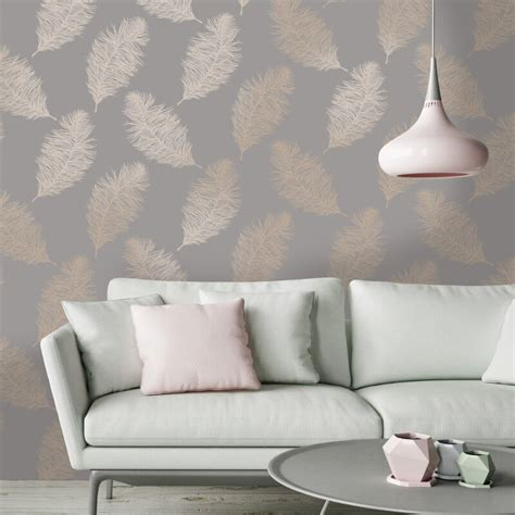feather wallpaper home decor holden decor fawning feather grey rose gold metallic