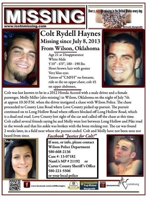 missing molly books colt haynes july 8 2013 wilson ok