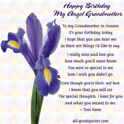 In Memory Birthday Quotes Happy Birthday My Angel Grandmother In Loving Memory Rip