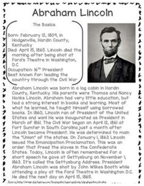 abraham lincoln biography questions graphic organizers story elements and organizers on pinterest