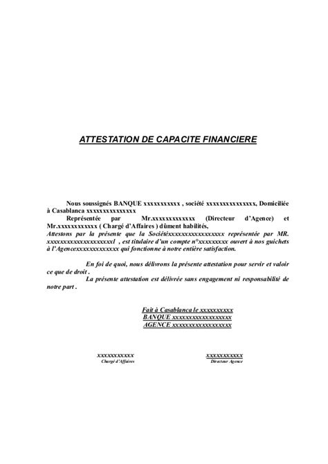 Attestation Services Engagement Letter Attestation Capacite Financiere