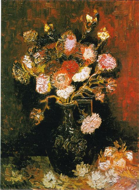 Vincent Gogh Vase by Vincent Gogh Vase With Asters And Phlox Painting