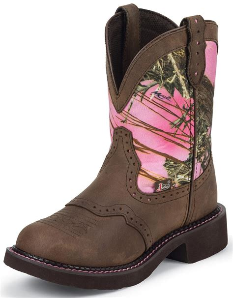 womans country boots justin womens pink camo cowboy boots pink brown