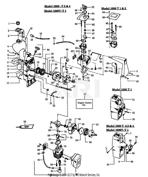 poulan  gas trimmer parts diagram  power unit