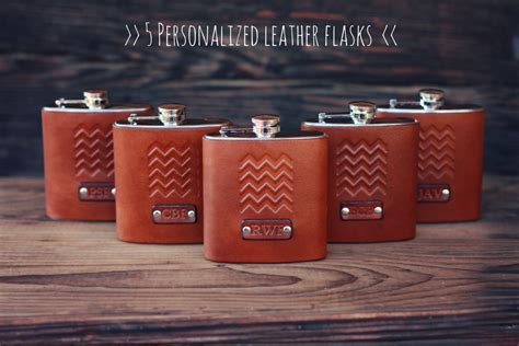 Handmade Leather Gifts - 5 custom leather flasks handmade personalized gifts for your