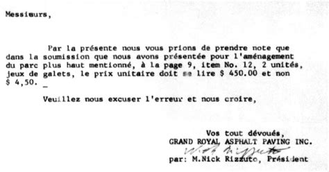 Apology Letter For Tardiness At Work Exle Rizzuto Filed Letters For Montreal Construction Bids
