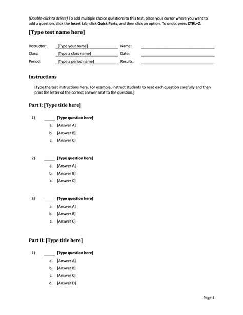 multiple choice template valuebook co