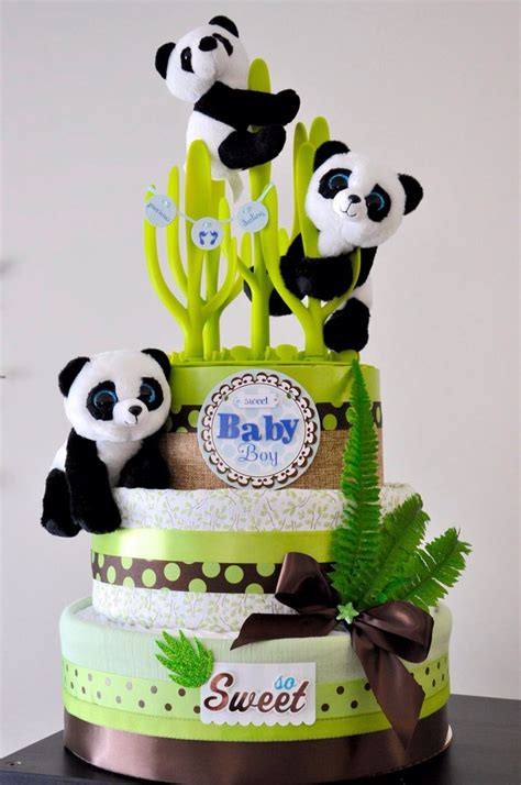 panda diaper cake baby shower ideas   panda baby showers diaper cake boy diaper cake