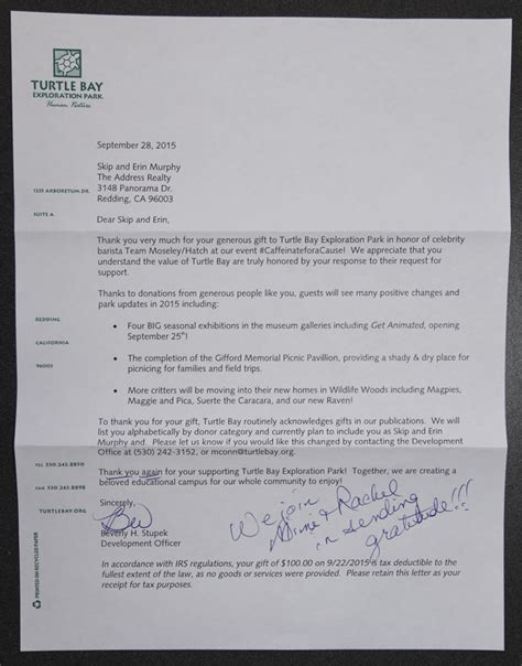 Thank You Letter For Museum Donation redding ca homes information part 12