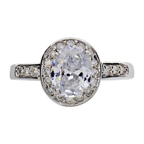 oval cut cubic zirconia sterling silver rhodium plated