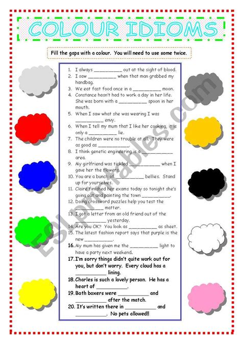 color idioms colour idioms esl worksheet by pepelie