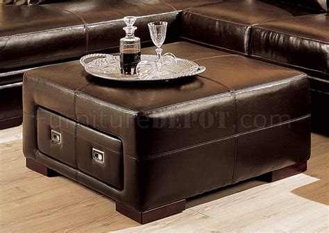 ledercouch mit ottomane brown bycast leather sectional sofa w storage ottoman