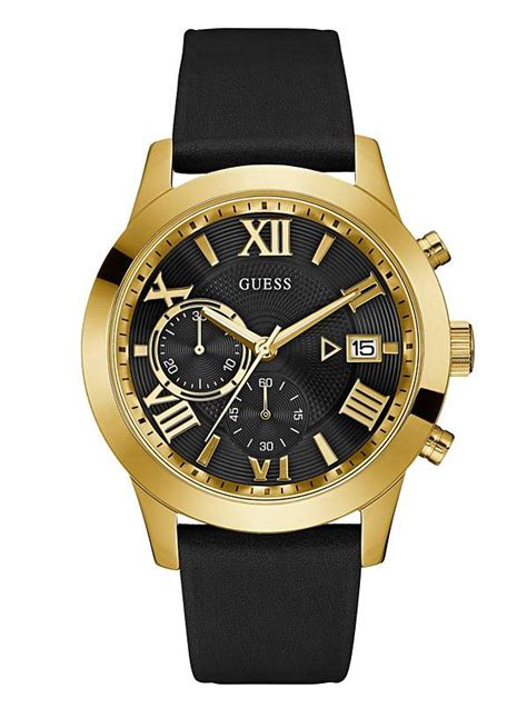 Guess Sprint Black Leather black leather and gold tone guess