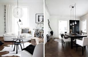simple black and white scandinavian interior in b w