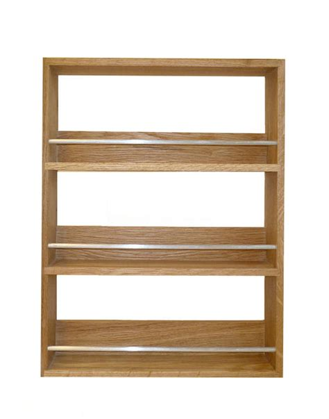 solid oak spice rack 3 shelves kitchen worktop wall